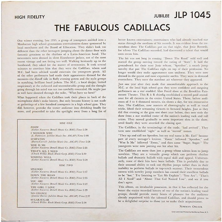 JLP-1045 - The Fabulous Cadillacs Back Cover