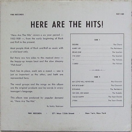 FLP-100 - Here Are The Hits ! Back Cover