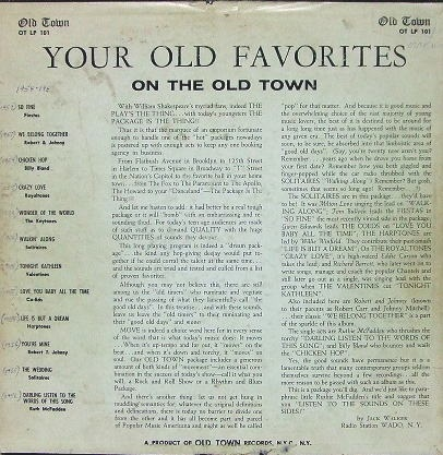 LP-101 - Your Old Favorites On The Old Town Back Cover