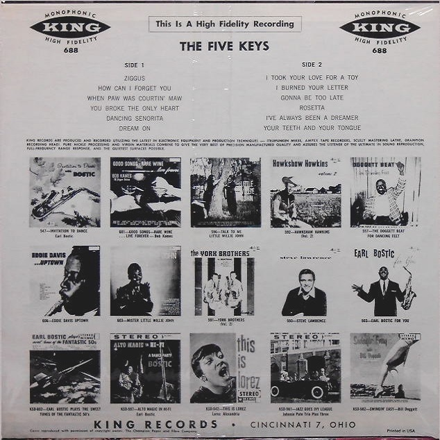 King 688 - The Five Keys Back Cover