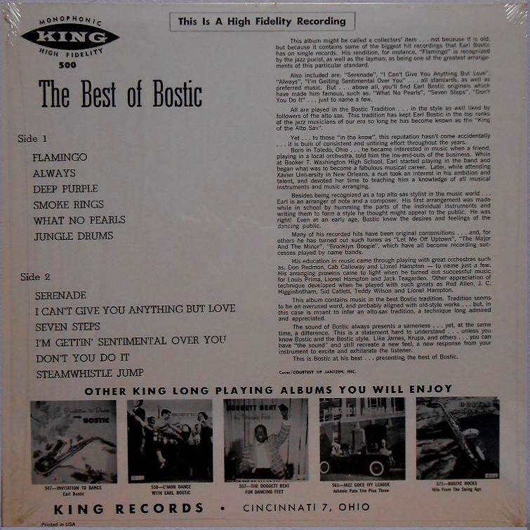 King 500 - Dance to The Best Of Bostic Back Cover
