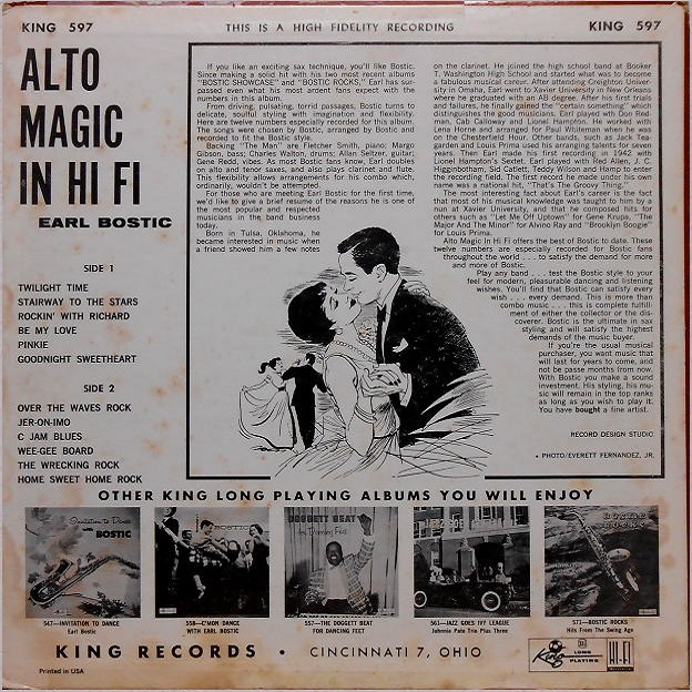 King 597 - Alto Magic in Hi Fi ,A Dance Party with Bostic Back Cover