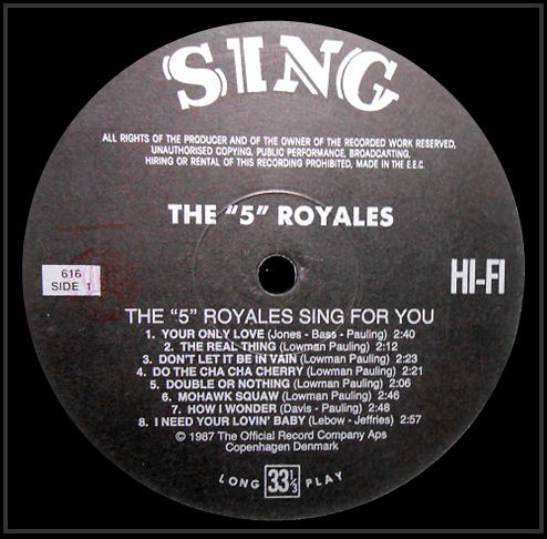 616 - The 5 Royales Sing For You