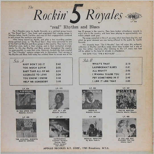 LP-488 - The Rockin' 5 Royales Back Cover