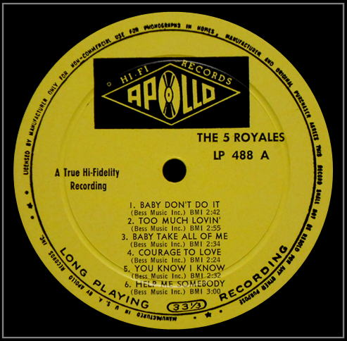 LP-488 - The Rockin' 5 Royales Side A