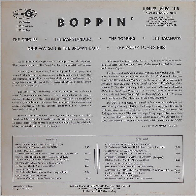JGM-1118 - Boppin'! Back Cover