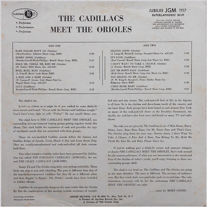JGM-1117 - The Cadillacs Meet The Orioles Back Cover