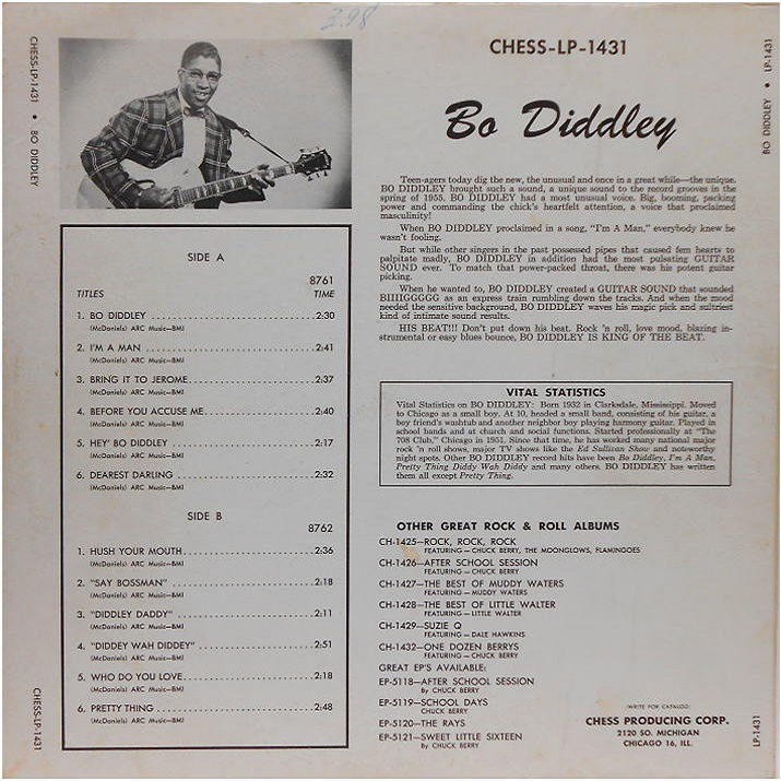 Chess LP-1431 - Bo Diddley Back Cover
