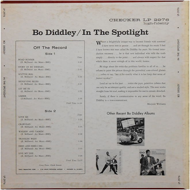 Checker LP-2976 - Bo Diddley In The Spotlight Back Cover