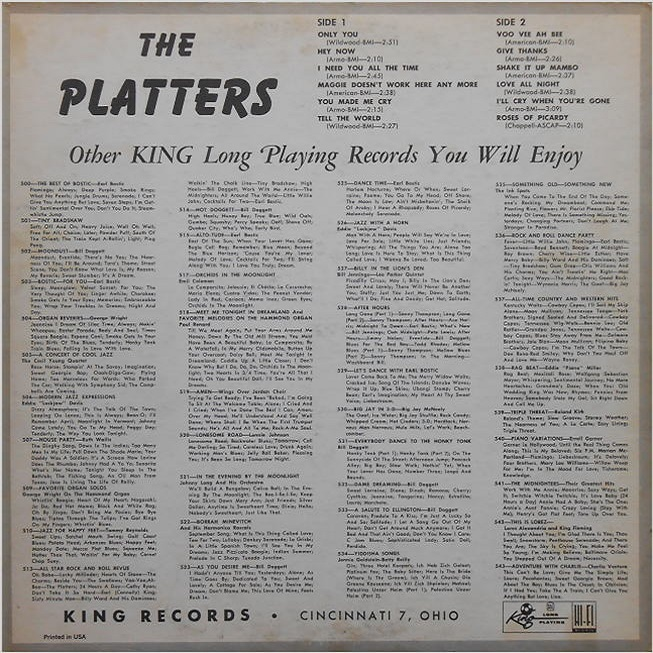 Federal 549 - The Platters Back Cover