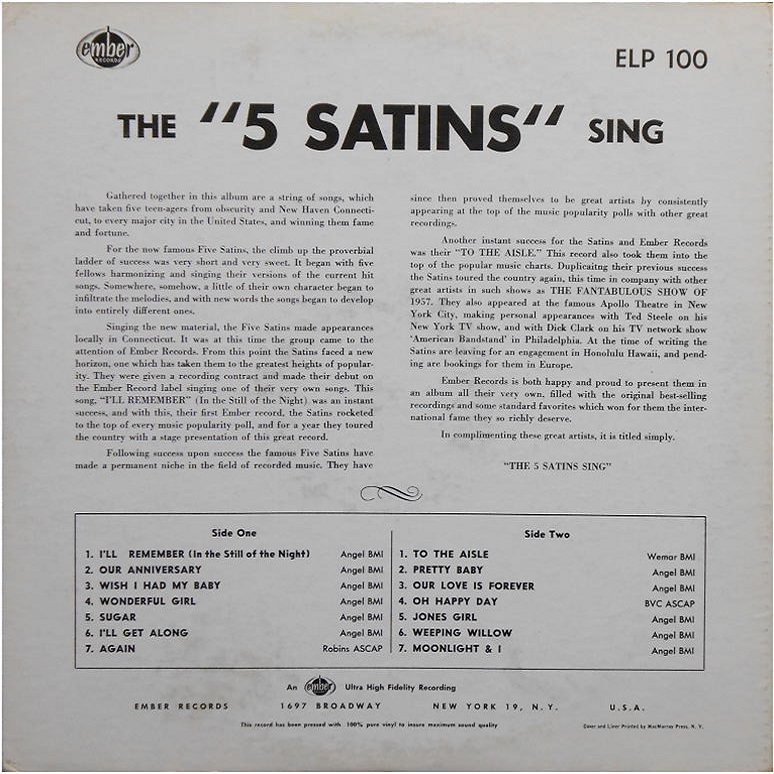 ELP-100 - The Five Satins Sing Back Cover