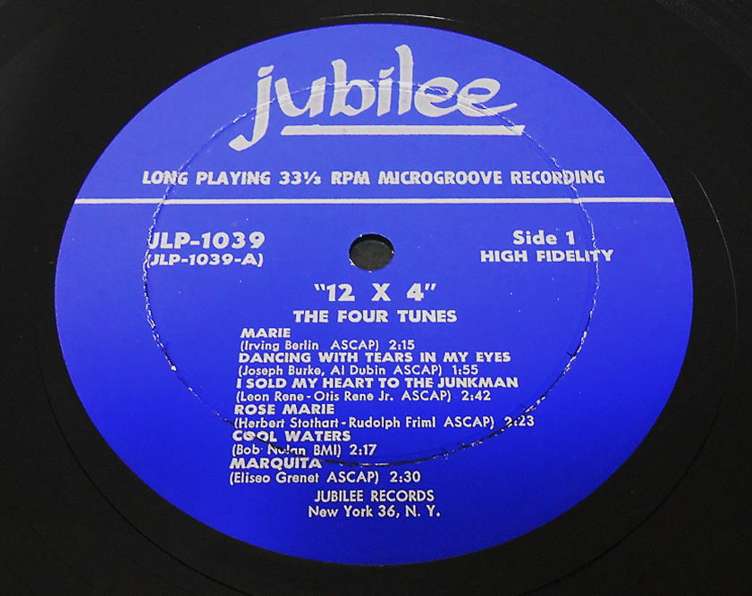 Jubilee JLP-1039 - 12 X 4 - The Four Tunes Label