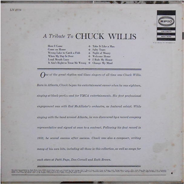 Epic LN3728 - A Tribute To Chuck Willis Back Cover