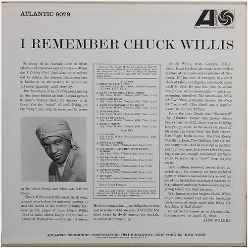 Atlantic 8078 - I Remember Chuck Willis Back Cover