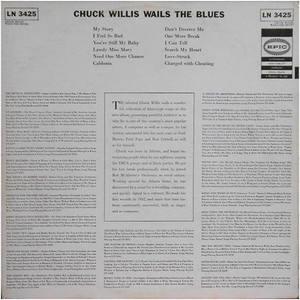 Epic LN3425 - Chuck Willis Wails The Blues Back Cover