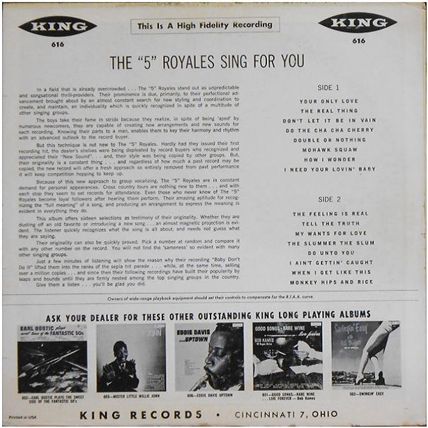 King 616 - The 5 Royales Sing For You Back Cover