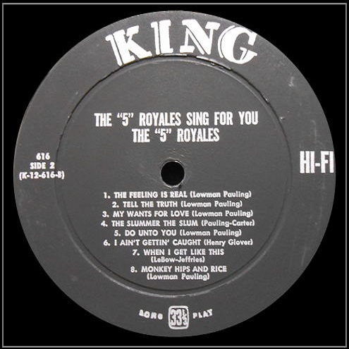 King 616 - The 5 Royales Sing For You Side 2