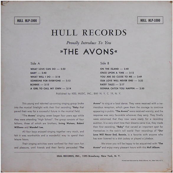 HLP-1000 - Hull Records Invite You To Meet The Avons Back Cover