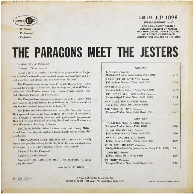 JGM-1098 - The Paragons Meet The Jesters Back Cover
