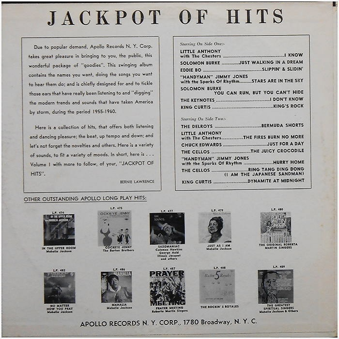 LP-490 - Jackpot Of Hits Back Cover