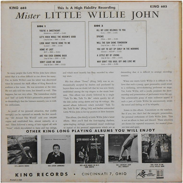 King 603 - Mister Little Willie John Back Cover